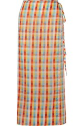 Miu Miu Checked Cotton Voile Wrap Midi Skirt Orange
