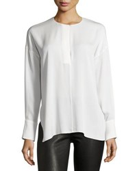 Vince Keyhole Front Long Sleeve Silk Blouse Off White