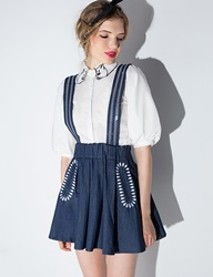 Pixie Market Denim Suspender Skirt