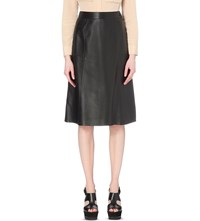 Whistles A Line Leather Midi Skirt Black