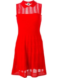 M Missoni Peter Pan Collar Knitted Dress Red