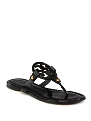 Tory Burch Miller Patent Leather Logo Thong Sandals Sand Orange Black