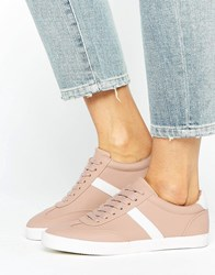Asos Delphine Stripe Lace Up Trainers Nude Beige