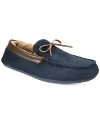 Club Room Men's Bomber Memory Foam Moccasin Slippers Created For Macy's Navy