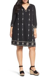 Caslonr Plus Size Women's Caslon Three Quarter Sleeve Embroidered Shift Dress