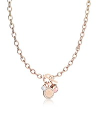 Rebecca Hollywood Stone Rose Gold Over Bronze Chain Necklace W Hydrothermal Pink Stone And Glass Pearl
