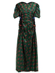 Toga Floral Print Ruched Cut Out Maxi Dress Green Print