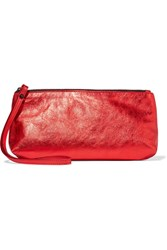Ann Demeulemeester Metallic Textured Leather Clutch One Size