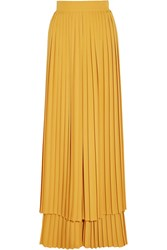 Sara Battaglia Plisse Crepe Wide Leg Pants Yellow