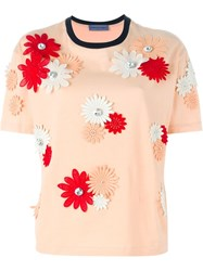 Emanuel Ungaro Flower Appliqua T Shirt Yellow And Orange