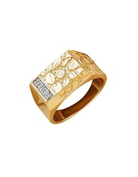 Lord And Taylor 14K Yellow Gold Rhodium Diamond Ring
