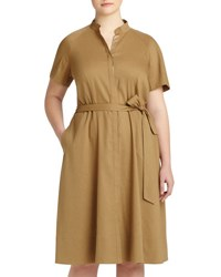 Lafayette 148 New York Braelyn Short Sleeve Belted A Line Dress Chai