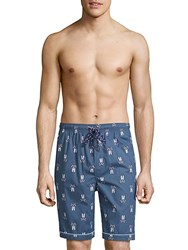 Psycho Bunny Woven Jammie Cotton Lounge Shorts Blue