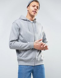 Weekday Bom Basic Zipthru Hooded Sweatshirt 09 090 Grey Melange