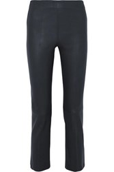 By Malene Birger Floridia Cropped Leather Slim Leg Pants Midnight Blue