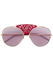 Pomellato Laser Cut Aviator Sunglasses Unisex Metal Other Red