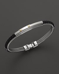 Charriol Gentlemen's Collection Black Leather Nautical Cable Bangle With Stud Detail No Color
