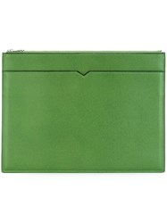 Valextra Layered Clutch Bag Green