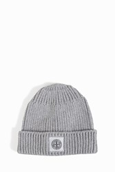 Stone Island Cotton Ribbed Beanie Grey