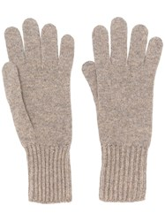 Pringle Of Scotland Ribbed Cuff Gloves Nude And Neutrals