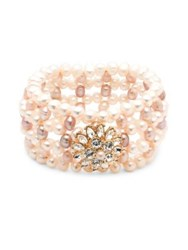 Carolee Petals And Pearls Freshwater Pearl And Simulated Faux Pearl Stretchable Bracelet Gold