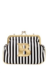 Melie Bianco Striped Initial Pouch B Multi