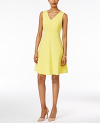 Nine West Fit And Flare Dress Lemon