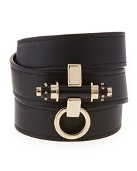 Givenchy Obsedia Triple Wrap Leather Bracelet Black