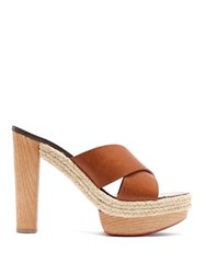 Christian Louboutin Lagoana 130 Leather Platform Mules Tan