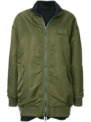 Sjyp Oversized Reversible Bomber Jacket Green