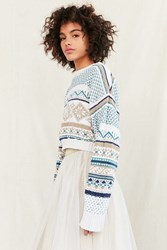Urban Renewal Remade Cropped Printed Sweater Cream