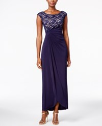 Connected Petite Lace Faux Wrap Gown Navy Nude
