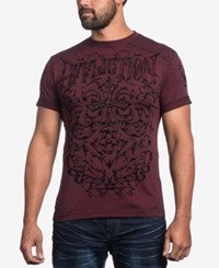 Affliction Men's Graphic Print T Shirt Dirty Red Burnout