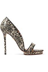 Charlotte Olympia Christine Zebra Print Snake Effect Leather Sandals Zebra Print