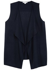 Duffy Navy Waterfall Front Cashmere Gilet