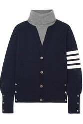 Thom Browne Button Detailed Striped Intarsia Cashmere Turtleneck Sweater Navy