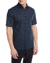 Zegna Sport Anchor Pattern Short Sleeve Shirt Dark Blue