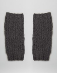 Boardwalk Boardmans Knitted Handwarmer Fingerless Gloves Light Grey Charcoa