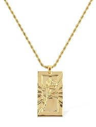 Northskull Rose Engraved Pendent Chain Necklace Gold