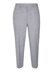 Topman Grey Blue And White Pinstripe Wide Leg Cropped Smart Trousers