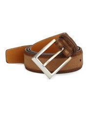 Saks Fifth Avenue Collection By Magnanni Leather Buckle Belt Tabaco
