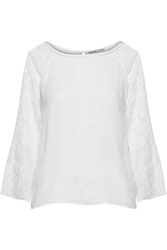 Chelsea Flower Abrielle Lace Paneled Crepe Top White