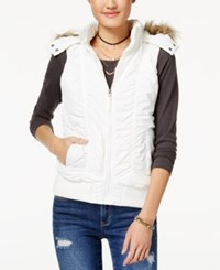 American Rag Juniors' Hooded Puffer Vest Created For Macy's Cream
