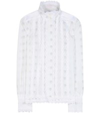 See By Chloe Eyelet Trimmed Cotton Fil Coupe Blouse White