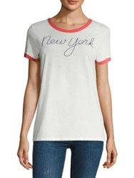 Sundry New York Embroidered Tee White Cherry
