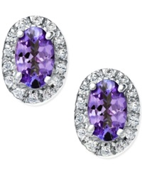 Macy's Tanzanite 3 8 Ct. T.W. And Diamond Accent Earrings In 14K White Gold