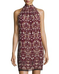 Max Studio Floral Printed Sleeveless Shift Dress Red Pattern