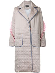 Anna October Padded Effect Midi Coat Nude Neutrals