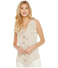 Calvin Klein Sleeveless Top With Ruffle Front Blouse Latte Women's Clothing Brown