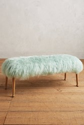 Anthropologie Luxe Fur Bench Mint